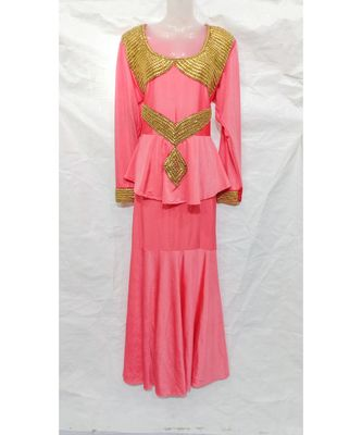 PINK Embroidered LYCRA Islamic Arabic PartyWear GOWN