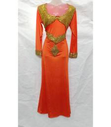 Orange Embroidered Lycra Islamic Arabic Partywear Gown