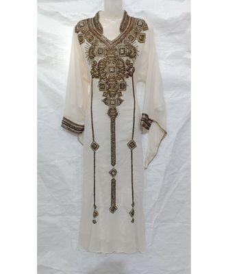 WHITE Embroidered LYCRA Islamic Arabic PartyWear KAFTAN