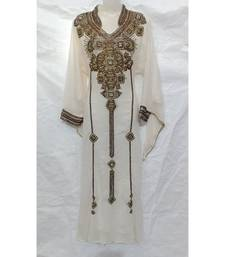 White Embroidered Lycra Islamic Arabic Partywear Kaftan