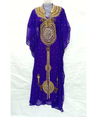 PURPLE Georgette Embroidered Zari Work Islamic FARASHA