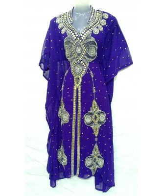 PURPLE Georgette Embroidered Zari Work Islamic FARASHA