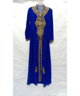 BLUE georgette embroidered stone work islamic abaya