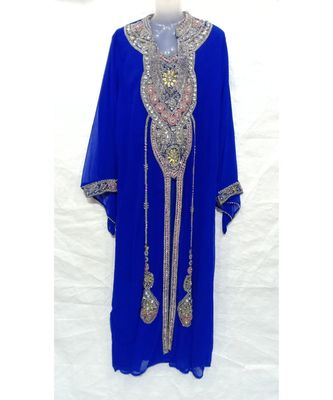 BLUE georgette embroidered stone work islamic abaya