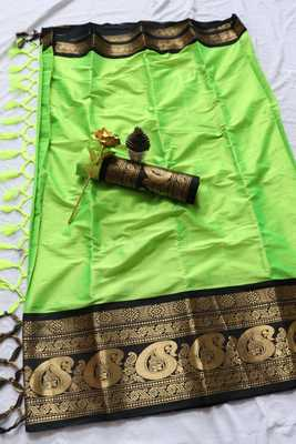 Lime woven cotton silk saree with blouse