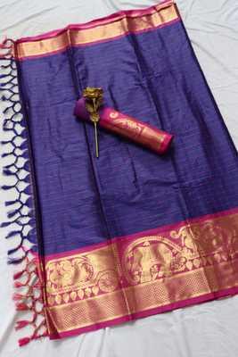 Indigo woven cotton silk saree with blouse
