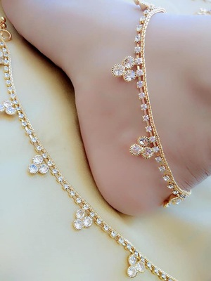 White diamond anklets