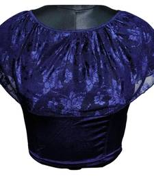 BLUE COTTON LYCRA STRETCHABLE READYMADE FREE SIZE SAREE BLOUSE FOR WOMEN