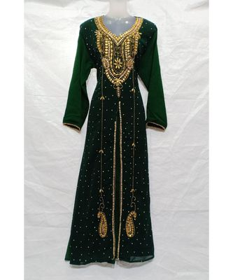 Black Hand Embroidery Stitched Kaftan