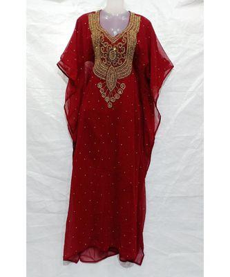 Burgandy Georgette Embroidered Stone Work Islamic Abaya