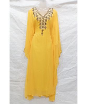 YELLOW Embroidered georgette Islamic Arabic PartyWear Abaya