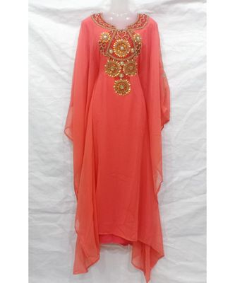 Peach Hand Embroidery Stitched Abaya