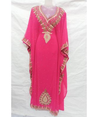 LIGHT PINK Embroidered georgette Islamic Arabic PartyWear Abaya