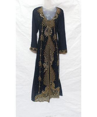 BLACK ISLAMIC Hand Embroidery Stitched KAFTAN
