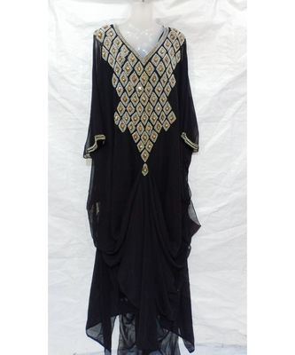 BLACK ISLAMIC Hand Embroidery Stitched KAFTAN
