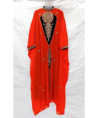 Orange Islamic Hand Embroidery Stitched Kaftan