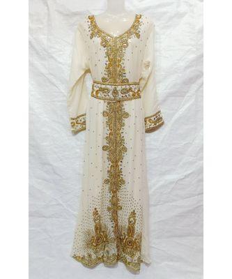 WHITE ISLAMIC Hand Embroidery Stitched KAFTAN