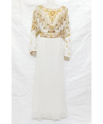 White Islamic Hand Embroidery Stitched Kaftan