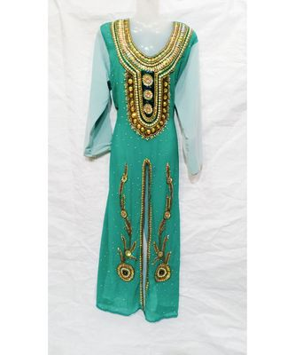 MIX COLOR Embroidered georgette Islamic Arabic PartyWear KAFTAN
