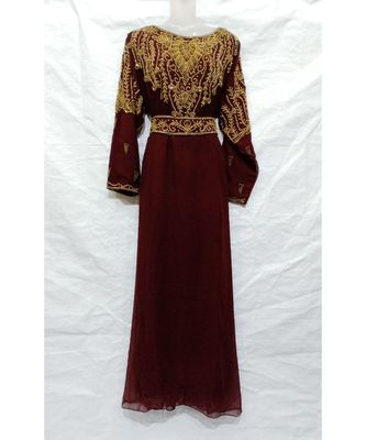 BROWN ISLAMIC Hand Embroidery Stitched KAFTAN