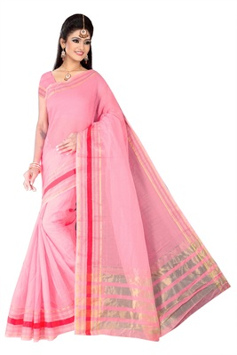 Pink woven super net saree with blouse