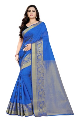 Blue printed cotton silk saree with blouse