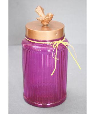 Bird Lid Glass Jar - Pink