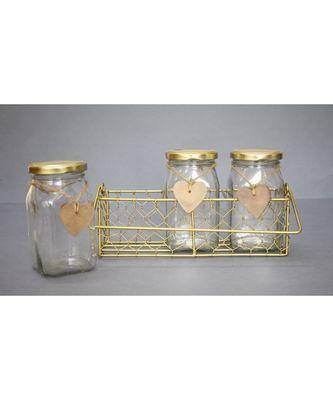 3 Glass Jar set with Holder - Gold
