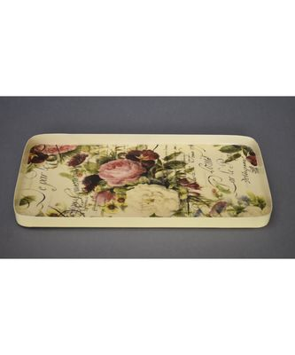 Floral Retangle Platter cum Tray
