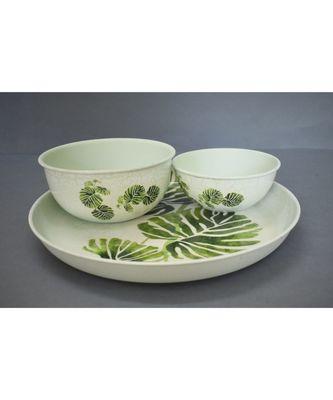 Leaf Print Plate Cum Platter with Bowls