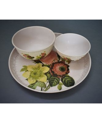 Flower Print Plate Cum Platter with Bowls