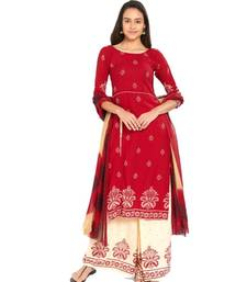 red screen print crepe unstitched salwar with dupatta