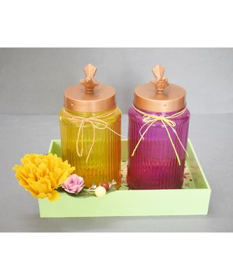 Wooden Tray with Glass Jars