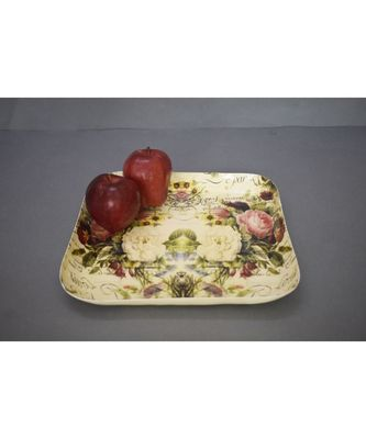 Floral Square Platter cum Tray