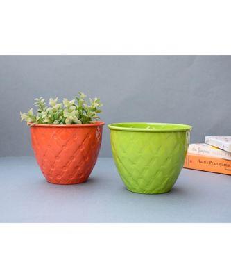 Orange and Green Metal Embossed Planter Set