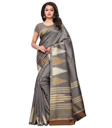 grey printed art silk saree with blouse