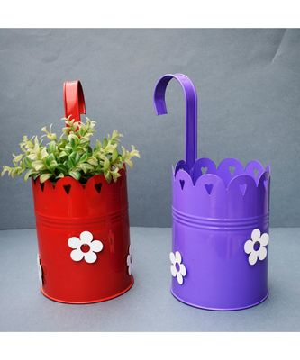 Color Palatte Hanging Planter - Red and Purple
