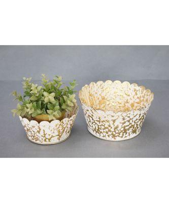 Gold and White Hanmmered Planter Set