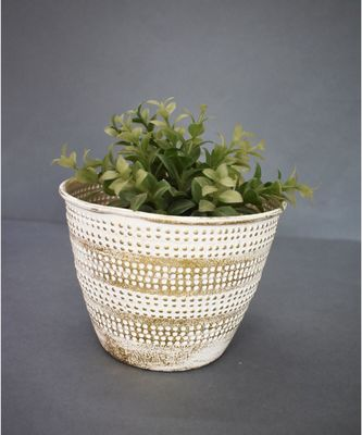 Gold and White Vintage Planter