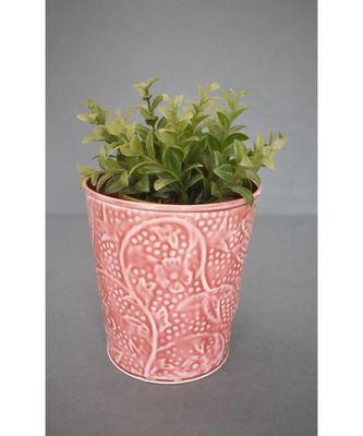 Red Embossed Planter in Ceramic Finish