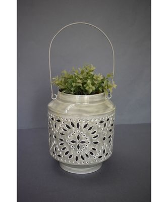 Grey Cutwork Planter with Handle