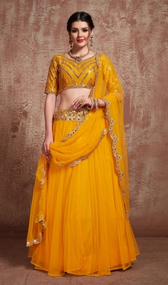 Soothing Mustard Yellow Party Wear Embroidered Lehenga Choli with dupatta
