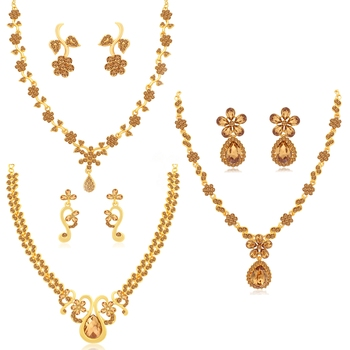Brown pearl necklace-sets