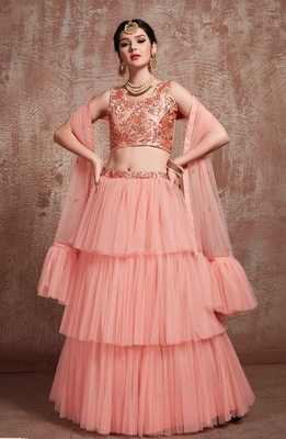 Desiring Peach Embroidered Net Unstitched Lehenga Choli With
