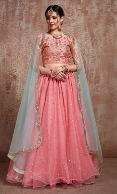 Glamorous Pink Party Wear Embroidered Lehenga Choli with dupatta