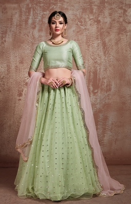Lively Pista Green Party Wear Embroidered Lehenga Choli With Dupatta