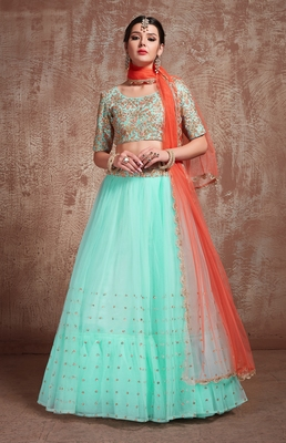 Exquisite Blue Party Wear Sequins embroidered net Lehenga Choli