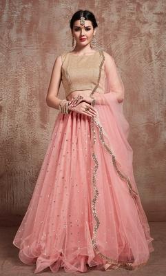 Tempting Baby Pink Party Wear Lehenga Choli with dupatta