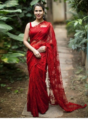 Red woven net saree with blouse