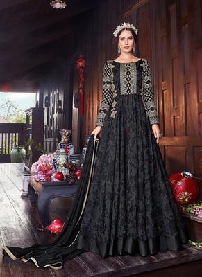 Black embroidered organza salwar